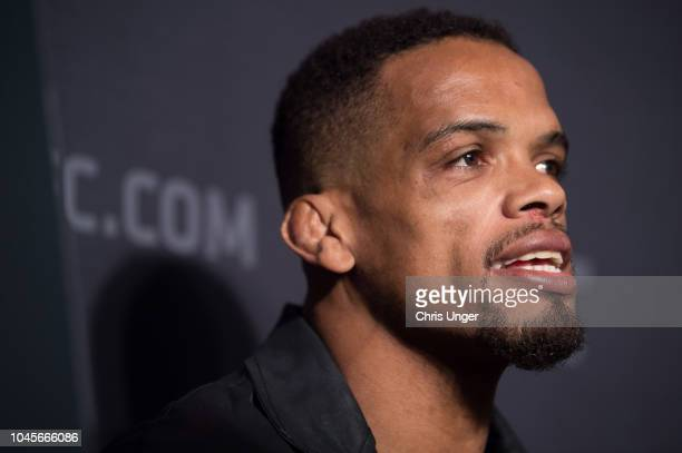 Alan Patrick of Brazil interacts with media during the UFC 229 Ultimate Media Day at the Park MGM Las Vegas on October 4 2018 in Las Vegas Nevada