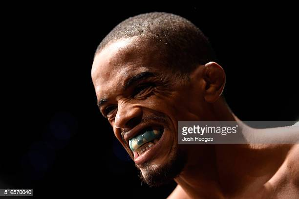 Alan Patrick of Brazil prepares to enter the Octagon prior to facing Damien Brown of Australia in their lightweight bout during the UFC Fight Night...