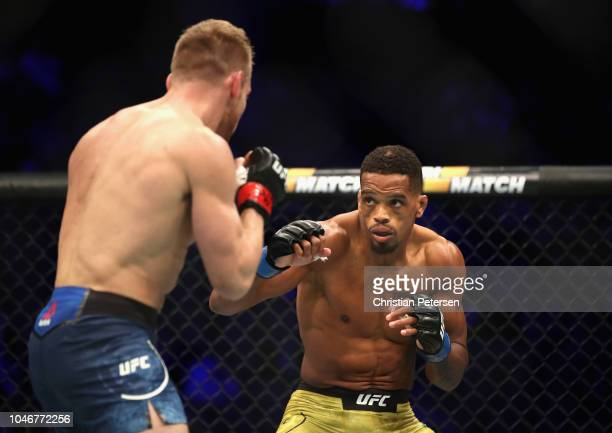 Alan Patrick of Brazil stares down Scott Holtzman in their lightweight bout during the UFC 229 event inside TMobile Arena on October 6 2018 in Las...