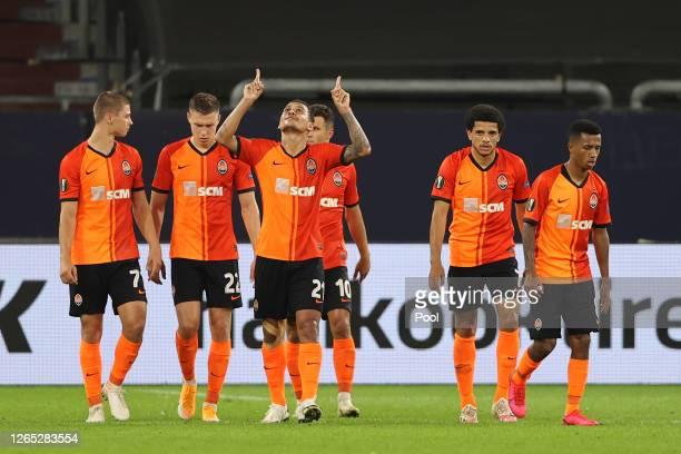Alan Patrick of Shakhtar Donetsk celebrates after scoring his sides third goal during the UEFA Europa League Quarter Final between Shakhtar Donetsk...