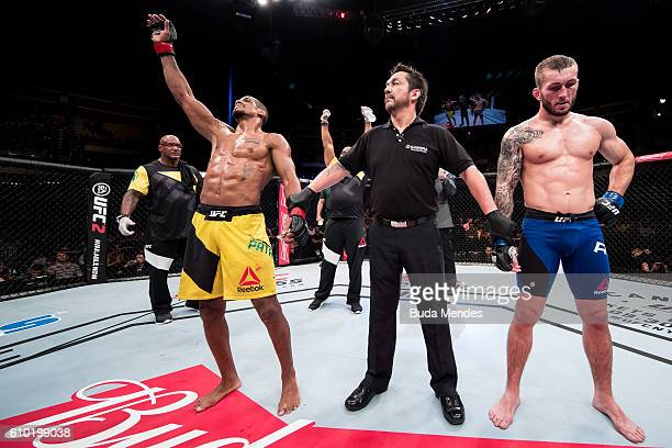 Alan Patrick of the Brazil celebrates victory over Steve Ray of Scotland in their lightweight UFC bout during the UFC Fight Night event at Nilson...