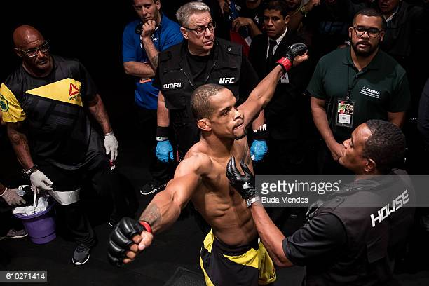 Alan Patrick of the Brazil enters the arena prior to his lightweight bout against Steve Ray of Scotland during the UFC Fight Night event at Nilson...