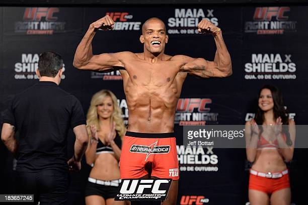 Alan Patrick weighs-in during the UFC Fight Night: Maia v Shields weigh-in at the Ginasio Jose Correa on October 8, 2013 in Barueri, Sao Paulo,...