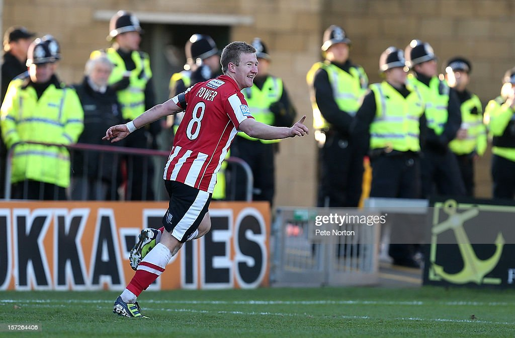 Alan Power of Lincoln City celebrates after scoring his sides third goal during the FA Cup with Budweiser Second Round match at Sincil Bank Stadium on December 1, 2012 in Lincoln, England.