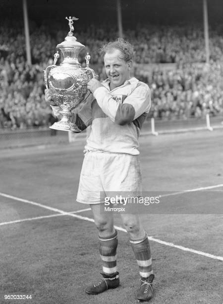 Alan Prescott the St Helens captain seen here celebrating after his teams 13 - 2 victory over Halifax following the Rugby League Cup Final at...