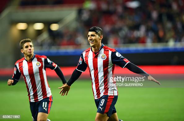 966d9ec5c10 Alan Pulido and Isaac Brizuela of Guadalajara celebrate after scoring...  News Photo - Getty Images