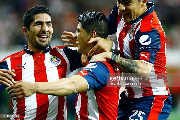 Alan Pulido , Michael Perez and Jair Pereira of Guadalajara celebrate after scoring against Necaxa during their Mexican Apertura 2016 tournament...