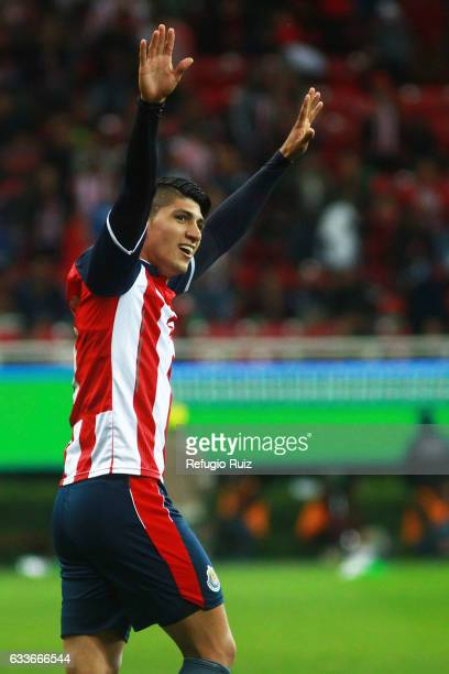 Alan Pulido of Chivas celebrates after scoring during a friendly match between Chivas of Mexico against Boca Juniors of Argentina named Duelo de...