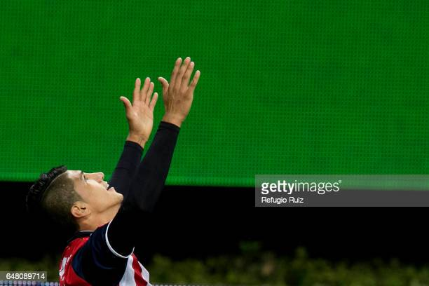 Alan Pulido of Chivas celebrates after scoring his team's first goal during the 9th round match between Chivas and Toluca as part of the Torneo...