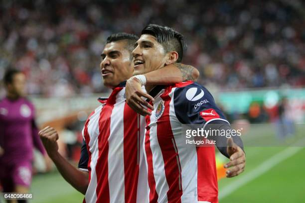 Alan Pulido of Chivas celebrates after scoring his team's second goal during the 9th round match between Chivas and Toluca as part of the Torneo...