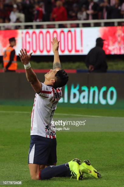 Alan Pulido of Chivas celebrates after scoring the first goal of his team during the first round match between Chivas and Tijuana as part of the...