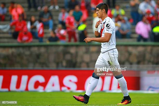 Alan Pulido of Chivas celebrates after scoring the first goal of his team during the 9th round match between Toluca and Chivas as part of the Torneo...