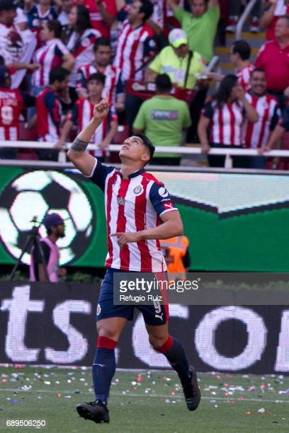 Alan Pulido of Chivas celebrates after scoring the first goal of his team during the Final second leg match between Chivas and Tigres UANL as part of...