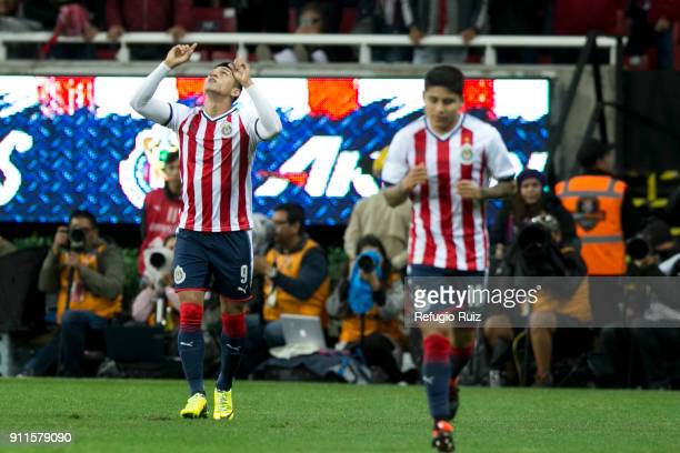 Alan Pulido of Chivas celebrates after scoring the first goal of his team during the 4th round match between Chivas and Monterrey as part of the...