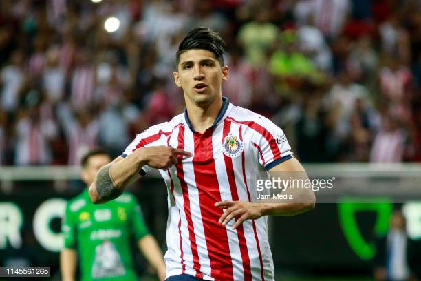 Alan Pulido of Chivas celebrates after scoring the second goal of his team during the 16th round match between Chivas and Leon as part of the Torneo...