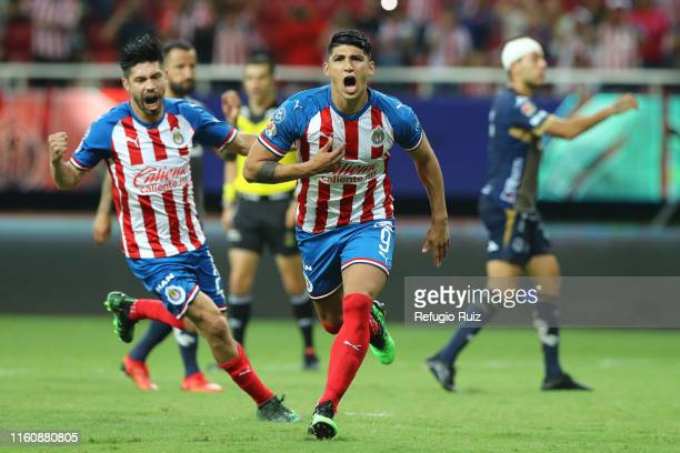 Alan Pulido of Chivas celebrates after scoring the second goal of his team during the 4th round match between Chivas and Atletico San Luis as part of...