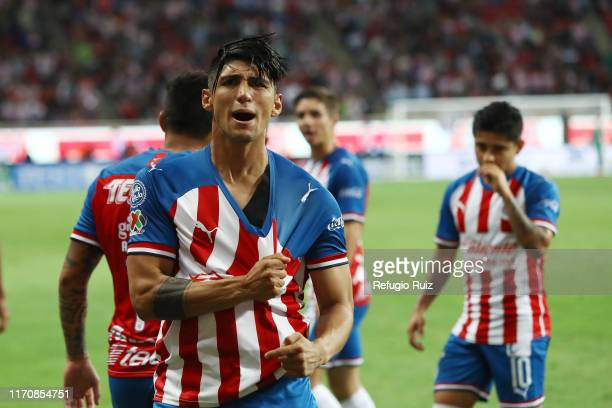 Alan Pulido of Chivas celebrates after scoring the second goal of his team during the 11th round match between Chivas and Pachuca as part of the...