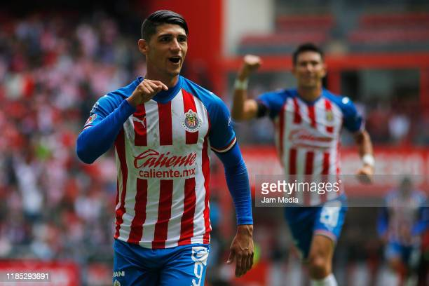 Alan Pulido of Chivas celebrates after scoring the second goal of his team during the 17th round match between Toluca and Chivas as part of the...