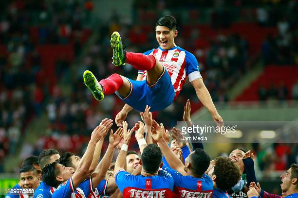 Alan Pulido of Chivas celebrates after scoring the second goal of his team during the 19th round match between Chivas and Veracruz as part of the...