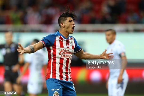 Alan Pulido of Chivas celebrates first goal during the 19th round match between Chivas and Veracruz as part of the Torneo Apertura 2019 Liga MX at...