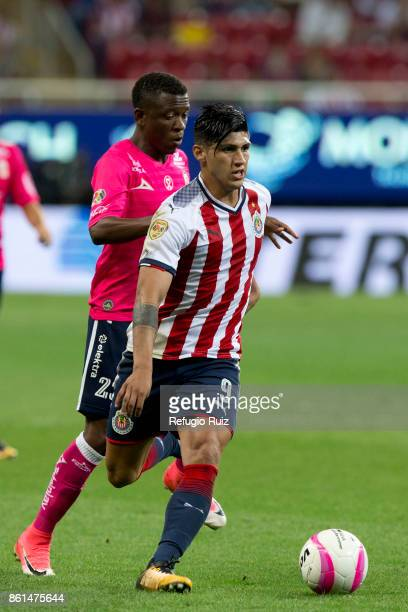 Alan Pulido of Chivas fights for the ball with Jefferson Cuero of Morelia during the 13th round match between Chivas and Morelia as part of the...