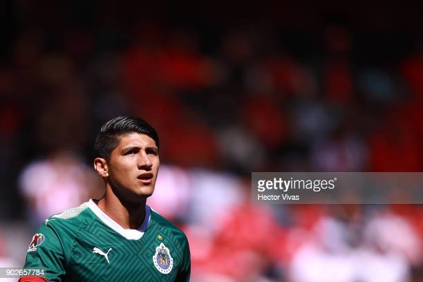 Alan Pulido of Chivas looks on during the first round match between Toluca and Chivas as part of the Torneo Clausura 2018 Liga MX at Nemesio Diez...