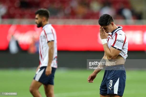 Alan Pulido of Chivas reacts after a defeat in the 13th round match between Chivas and Lobos BUAP as part of the Torneo Clausura 2019 Liga MX at...