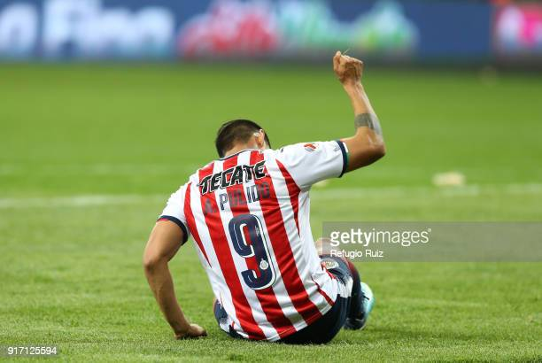 Alan Pulido of Chivas reacts during the 6th round match between Chivas and Santos Laguna as part of the Torneo Clausura 2018 Liga MX at Akron Stadium...