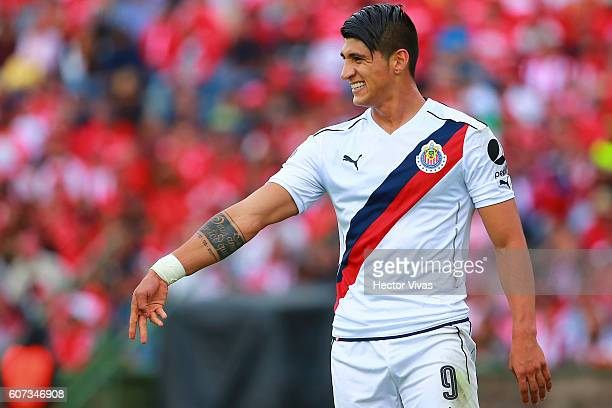Alan Pulido of Chivas reacts during the 9th round match between Toluca and Chivas as part of the Torneo Apertura 2016 Liga MX at Universitario...