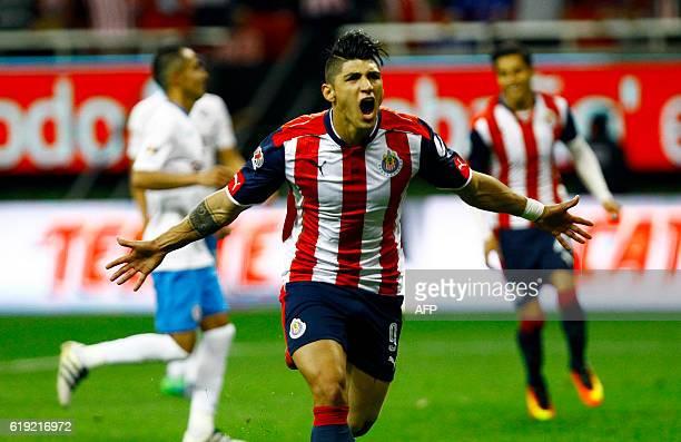 Alan Pulido of Guadalajara celebrates after scoring against Cruz Azul during their Mexican Apertura 2016 tournament football match at Chivas stadium...