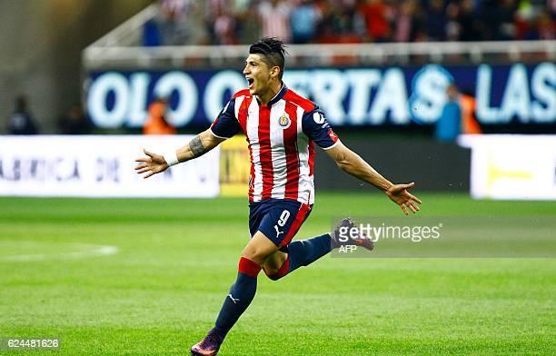 Alan Pulido of Guadalajara celebrates after scoring against Necaxa during their Mexican Apertura 2016 tournament football match at Chivas stadium on...
