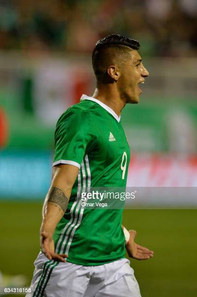 Alan Pulido of Mexico celebrates after scoring his team's first goal during an International Friendly match between Mexico and Iceland at Sam Boyd...