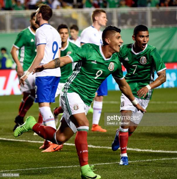 Alan Pulido of Mexico reacts after scoring a goal against Iceland during the first half of their exhibition match at Sam Boyd Stadium on February 8...