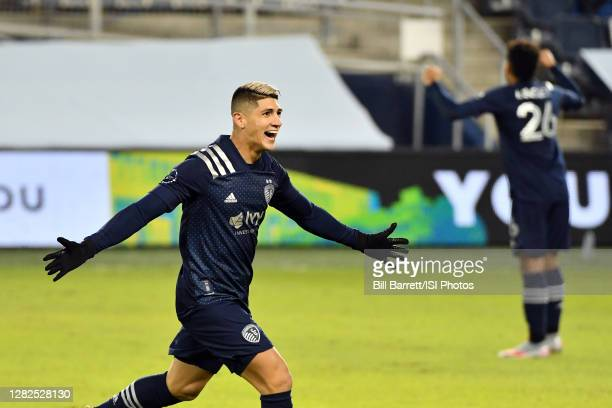 Alan Pulido of Sporting Kansas City celebrates his goal during a game between Colorado Rapids and Sporting Kansas City at Children's Mercy Park on...