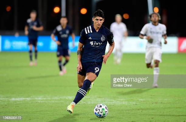 Alan Pulido of Sporting Kansas City controls the ball during a quarterfinals match against Philadelphia Union during the MLS Is Back Tournament at...