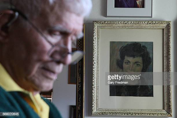 SAN MARCOS CALIFORNIA – APRIL 4 2012 Alan Purdy is photographed in front of a painting of his wife Margaret Josephine in the bedroom of his San...