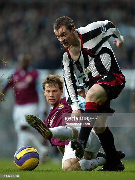 Alan Quin of West Ham United and Jonathon Spector of Sheffield United in action during the Barclays Premiership match between West Ham United and...