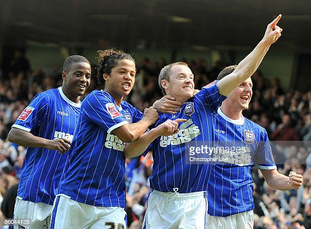 Alan Quinn of Ipswich celebrates scoring their first goal during the CocaCola Championship match between Ipswich Town and Norwich City at Portman...