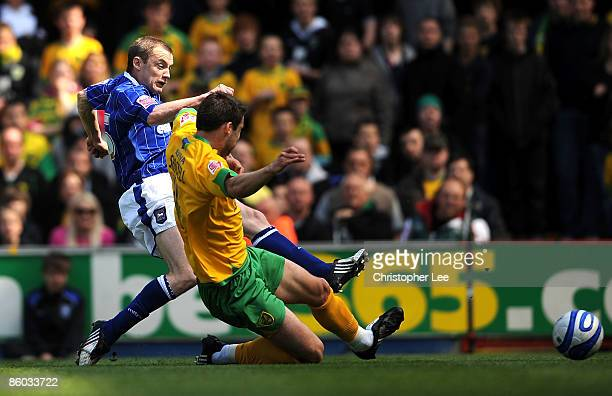 Alan Quinn of Ipswich scores their first goal during the CocaCola Championship match between Ipswich Town and Norwich City at Portman Road on April...