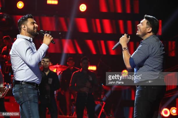 Alan Ramirez and Sergio Lizarraga of Banda MS rehearse on stage at Univision's 29th Edition Of Premio Lo Nuestro A La Musica Latina Rehearsals Day 2...