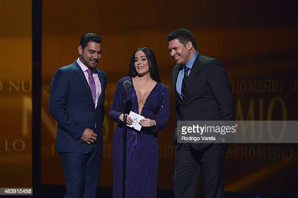 Alan Ramirez, Danna Garcia and Oswaldo Silvas speak onstage at the 2015 Premios Lo Nuestros Awards at American Airlines Arena on February 19, 2015 in...