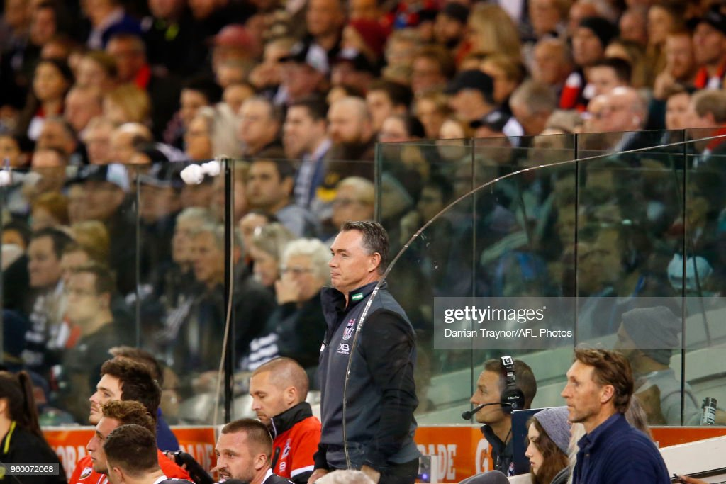 Alan Richardson, Senior Coach of the Saints looks on from the interchange bench during the round nine AFL match between the St Kilda Saints and the Collingwood Magpies at Etihad Stadium on May 19, 2018 in Melbourne, Australia.
