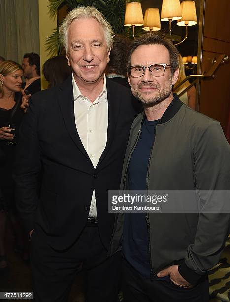 Alan Rickman and Christian Slater attend the New York Premiere after party of 'A Little Chaos' at Monkey Bar on June 17, 2015 in New York City.