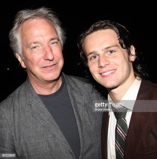 Alan Rickman and Jonathan Groff pose at the Opening Night After Party for Hair at Shakespeare in the Park at the Belvedere Castle on August 7 2008 in...