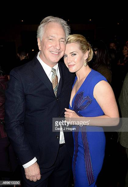 Alan Rickman and Kate Winslet attend the after party for the 'A Little Chaos' UK Premiere at Buddha Bar on April 13 2015 in London England