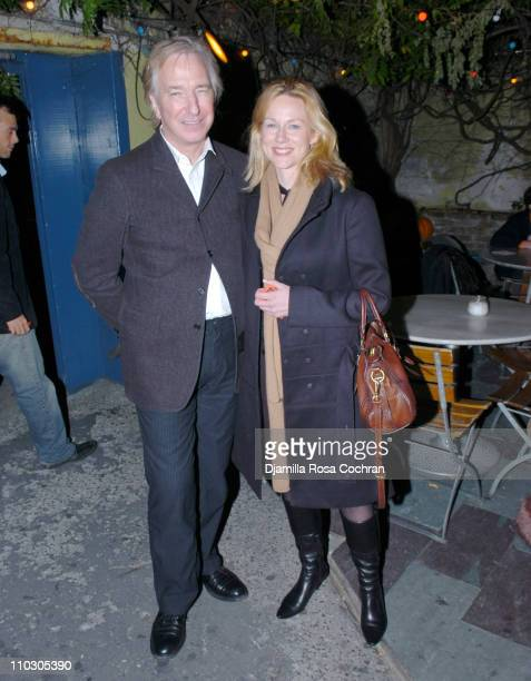 Alan Rickman and Laura Linney during Opening Night of 'My Name is Rachel Corrie' After Party at Bowery Bar in New York City New York United States