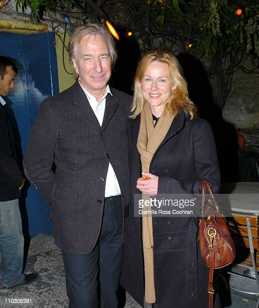 Alan Rickman and Laura Linney during Opening Night of My Name is Rachel Corrie After Party at Bowery Bar in New York City New York United States