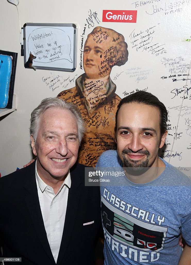 Alan Rickman and Lin-Manuel Miranda pose backstage at the hit musical 'Hamilton' on Broadway at The Richard Rogers Theater on November 19, 2015 in New York City.