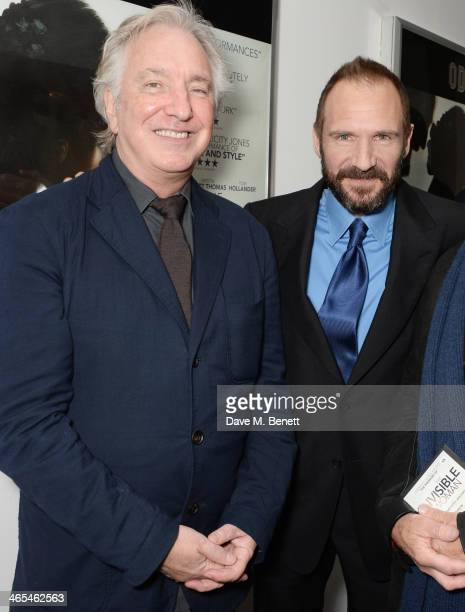 Alan Rickman and Ralph Fiennes attend the UK Premiere of 'The Invisible Woman' at the ODEON Kensington on January 27 2014 in London England