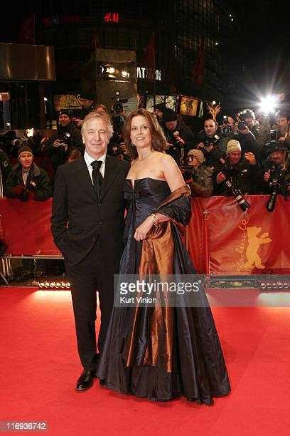 Alan Rickman and Sigourney Weaver during 56th Berlinale International Film Festival Snow Cake Premiere in Berlin Germany